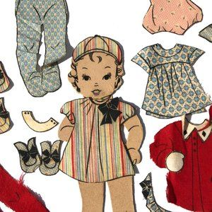 Vintage Accents - Vintage Fabric Paper Doll Signed with Clothes